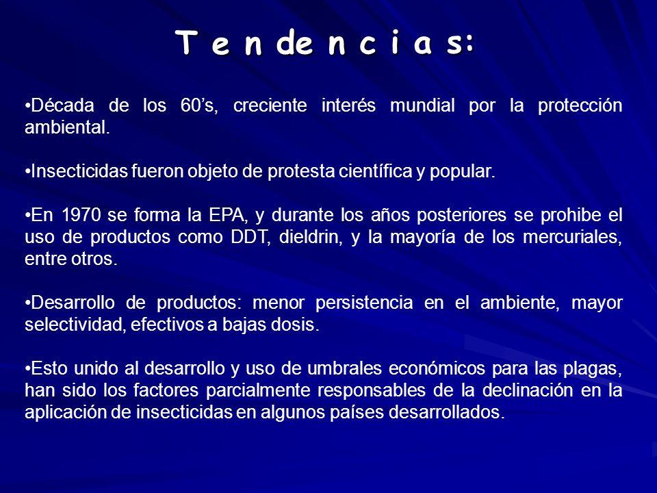 T e n de n c i a s: Década de los 60's, creciente interés mundial por la protección ambiental.