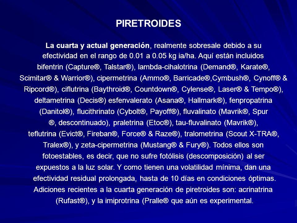 PIRETROIDES La cuarta y actual generación, realmente sobresale debido a su. efectividad en el rango de 0.01 a 0.05 kg ia/ha. Aquí están incluidos.