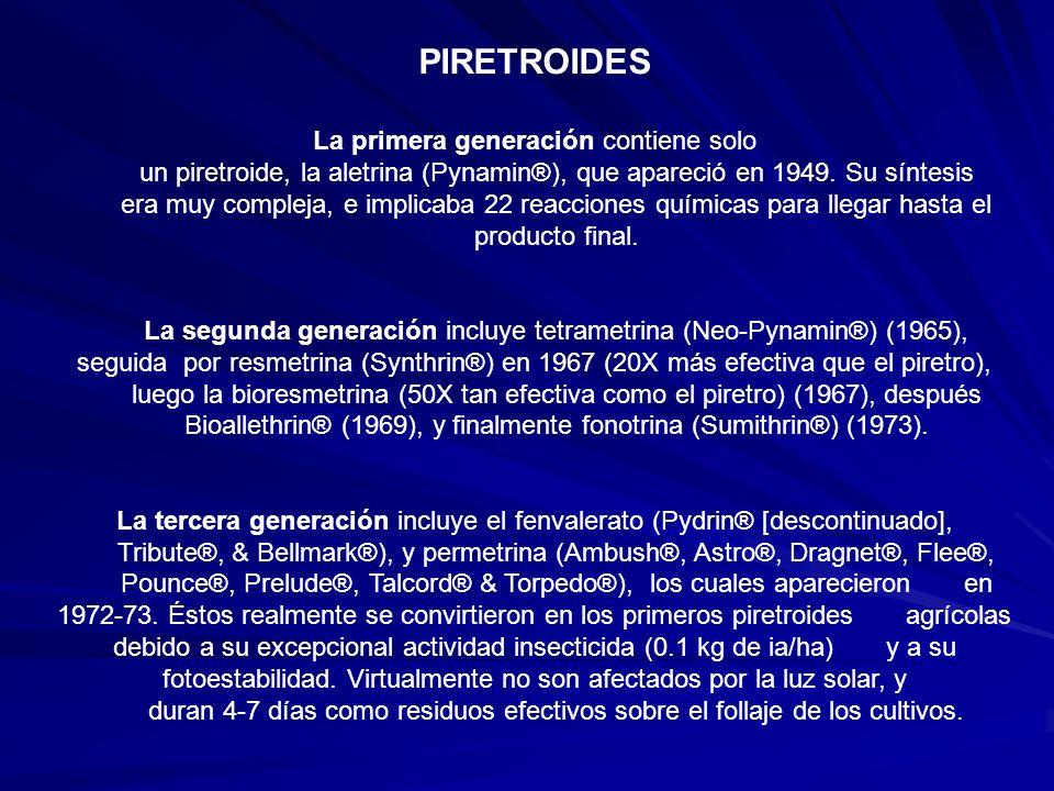 PIRETROIDES La primera generación contiene solo