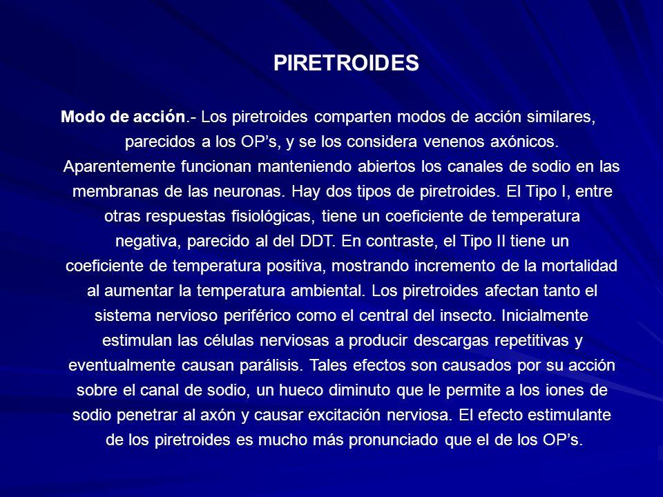 PIRETROIDES Modo de acción.- Los piretroides comparten modos de acción similares, parecidos a los OP's, y se los considera venenos axónicos.