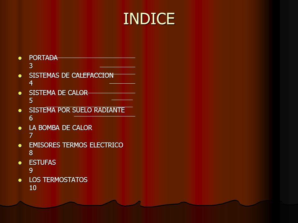 INDICE PORTADA 3 SISTEMAS DE CALEFACCION 4 SISTEMA DE CALOR 5