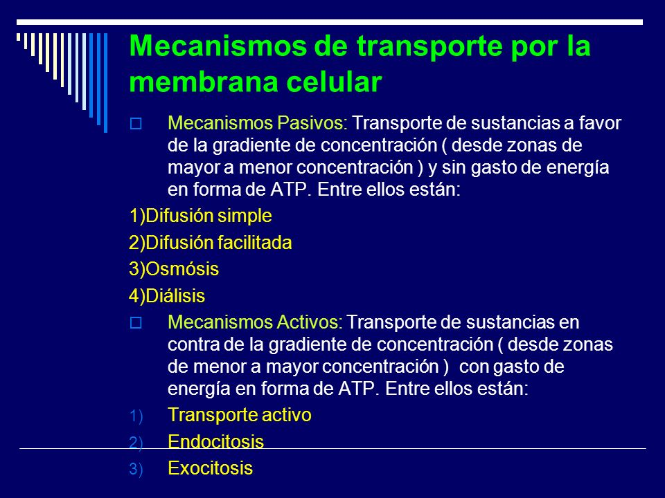 Mecanismos de transporte por la membrana celular