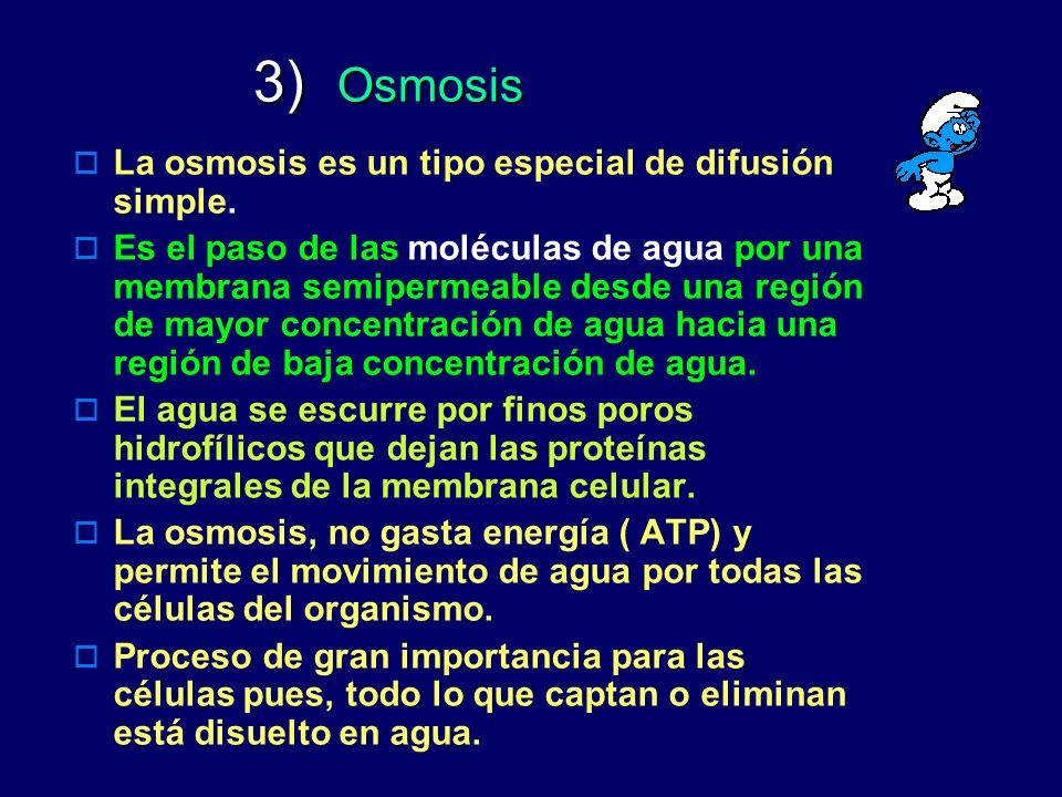 3) Osmosis La osmosis es un tipo especial de difusión simple.