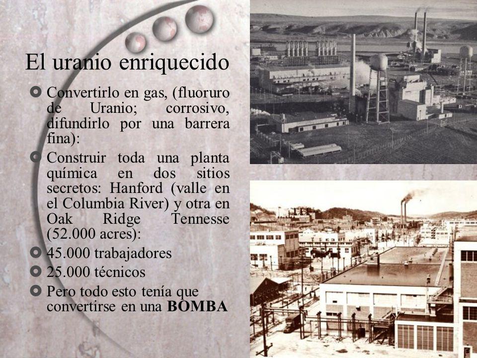 El uranio enriquecido Convertirlo en gas, (fluoruro de Uranio; corrosivo, difundirlo por una barrera fina):