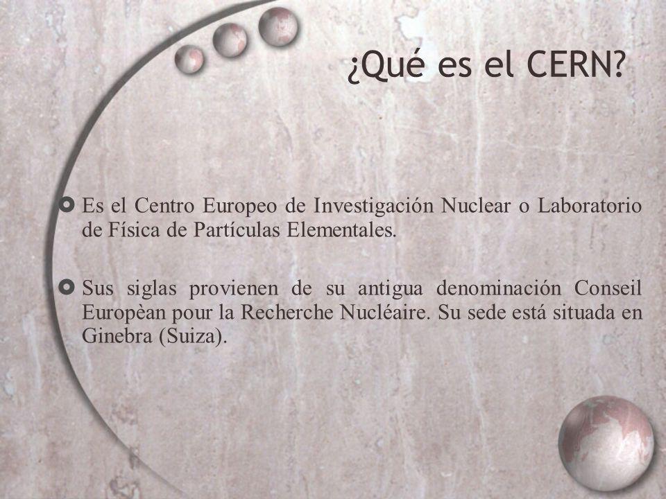 ¿Qué es el CERN Es el Centro Europeo de Investigación Nuclear o Laboratorio de Física de Partículas Elementales.