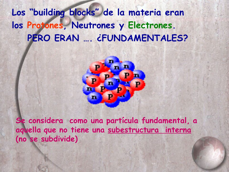 Los building blocks de la materia eran