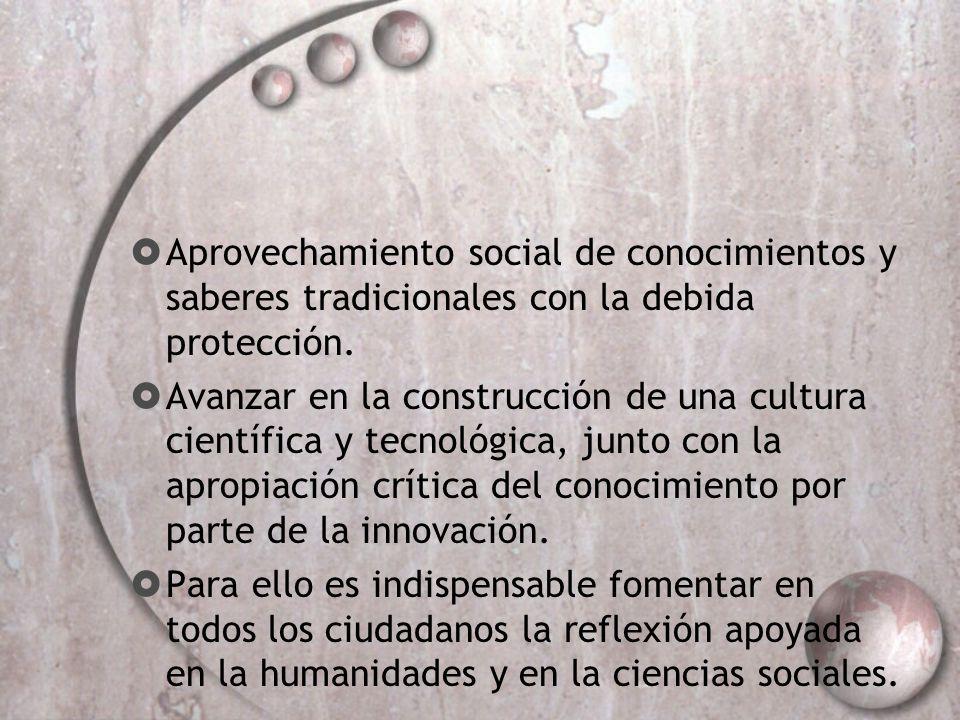 Aprovechamiento social de conocimientos y saberes tradicionales con la debida protección.