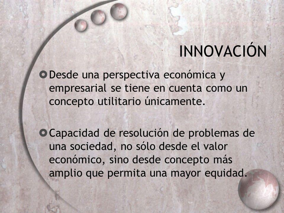 INNOVACIÓN Desde una perspectiva económica y empresarial se tiene en cuenta como un concepto utilitario únicamente.