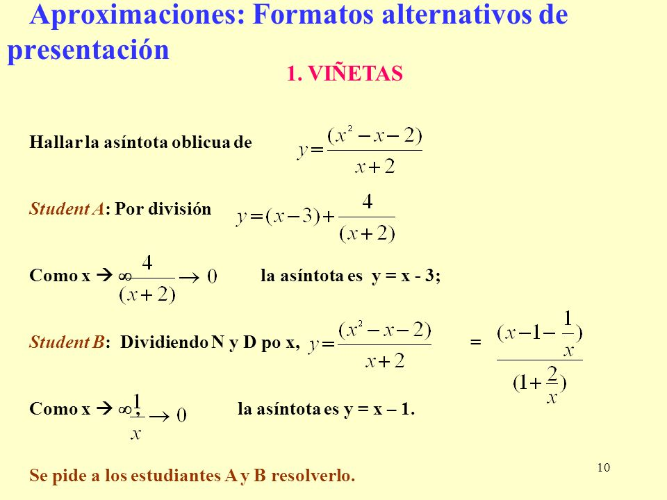 Aproximaciones: Formatos alternativos de presentación