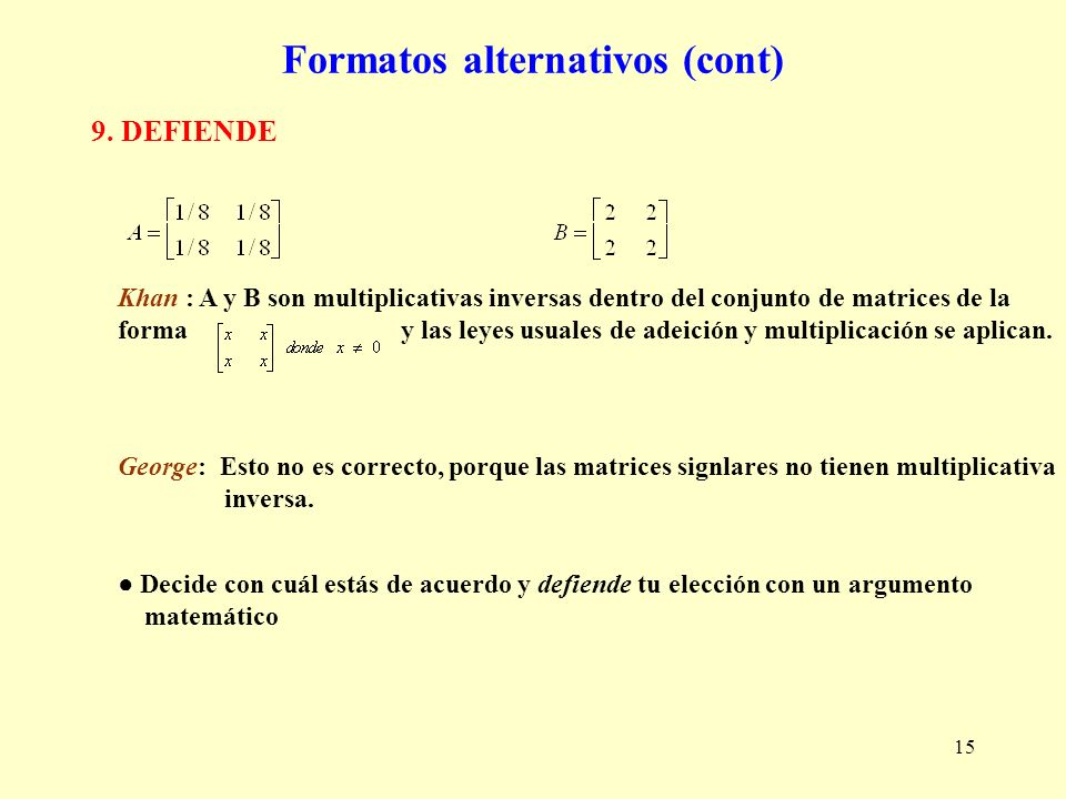 Formatos alternativos (cont)