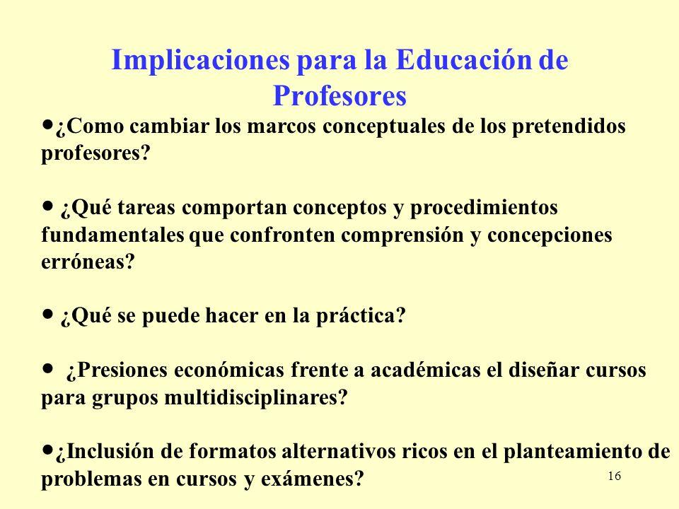 Implicaciones para la Educación de Profesores