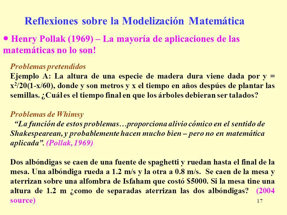 Reflexiones sobre la Modelización Matemática