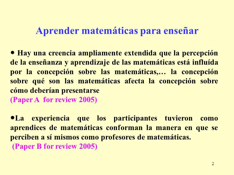 Aprender matemáticas para enseñar