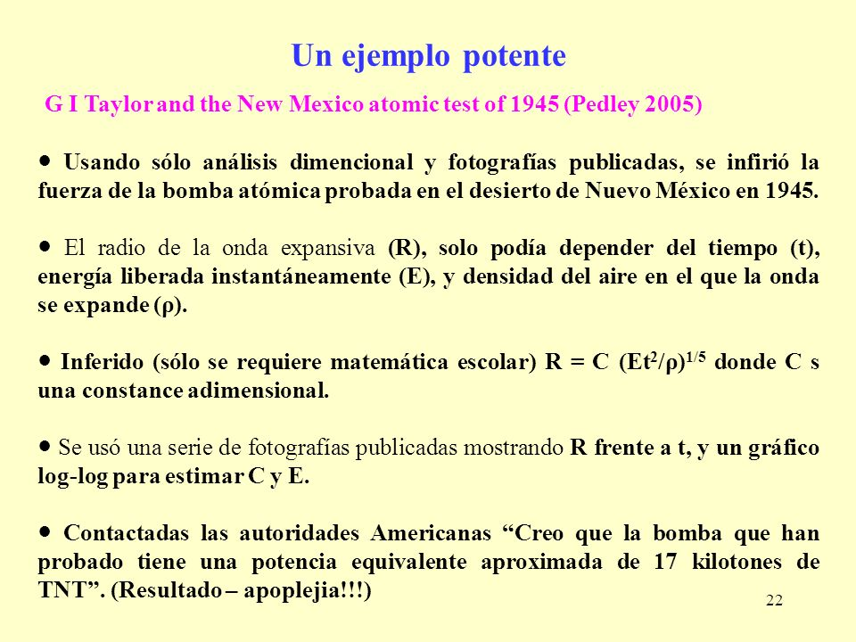 Un ejemplo potente G I Taylor and the New Mexico atomic test of 1945 (Pedley 2005)