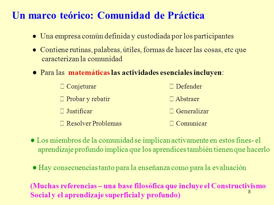 Un marco teórico: Comunidad de Práctica