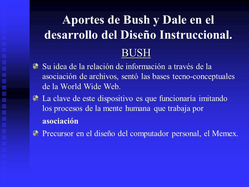 Aportes de Bush y Dale en el desarrollo del Diseño Instruccional.