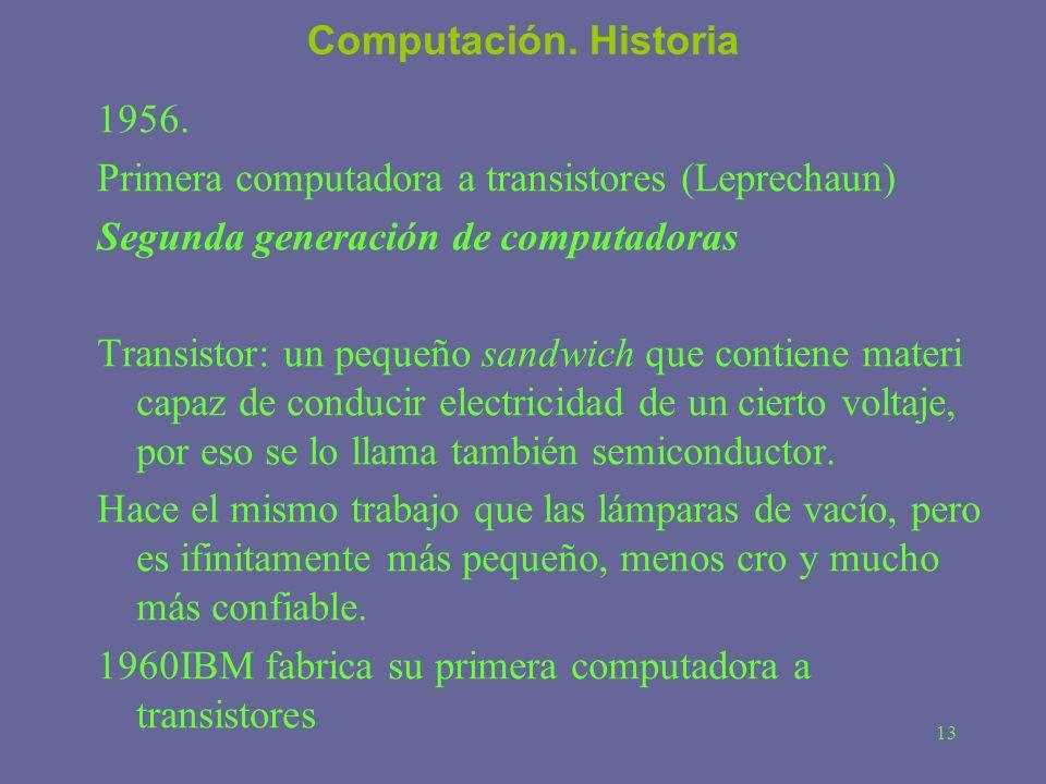 Computación. Historia 1956. Primera computadora a transistores (Leprechaun) Segunda generación de computadoras.