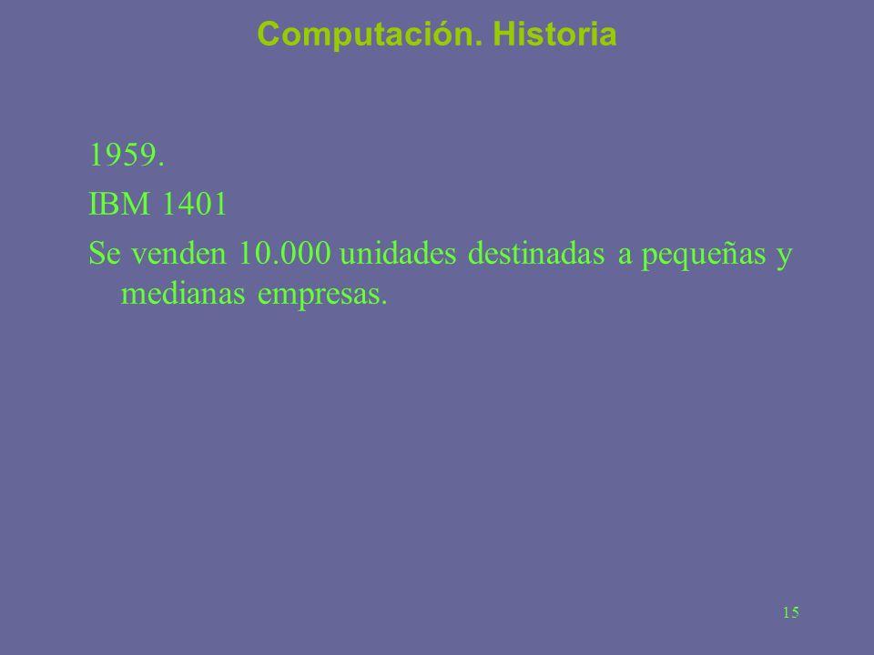 Computación. Historia 1959. IBM 1401.