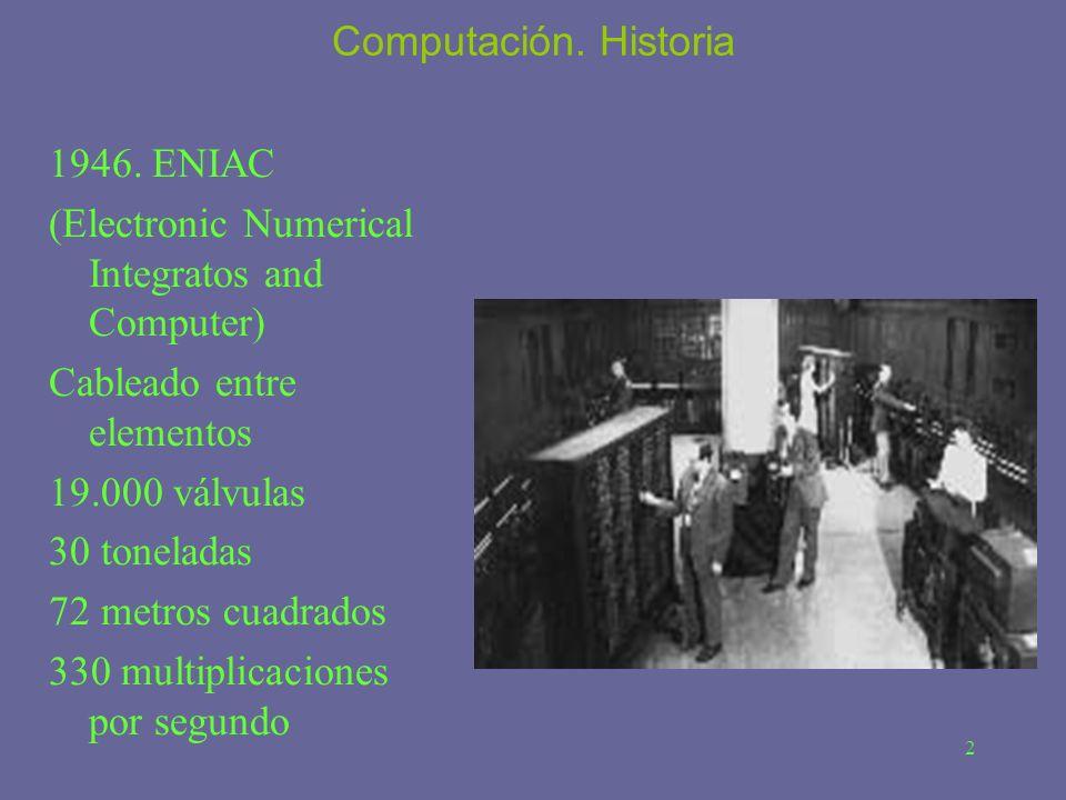 Computación. Historia 1946. ENIAC. (Electronic Numerical Integratos and Computer) Cableado entre elementos.