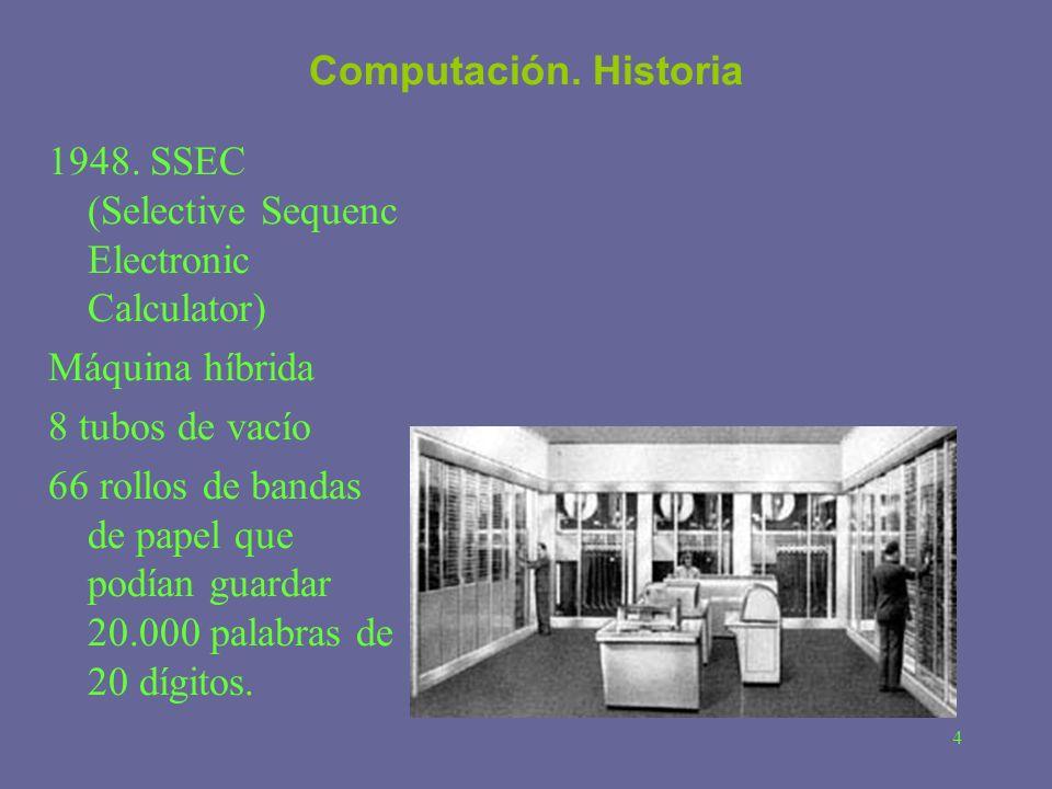 Computación. Historia 1948. SSEC (Selective Sequenc Electronic Calculator) Máquina híbrida. 8 tubos de vacío.