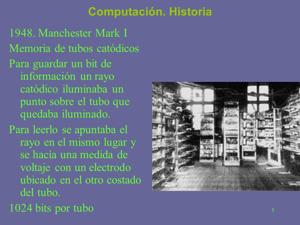 Computación. Historia 1948. Manchester Mark I. Memoria de tubos catódicos.