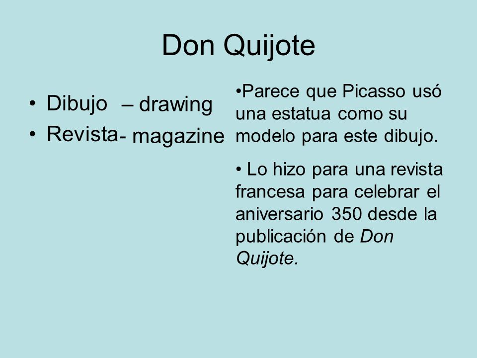 Don Quijote Dibujo – drawing Revista - magazine