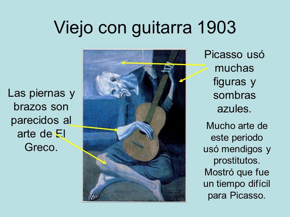 Viejo con guitarra 1903 Picasso usó muchas figuras y sombras azules.