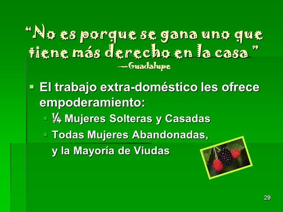No es porque se gana uno que tiene más derecho en la casa —Guadalupe