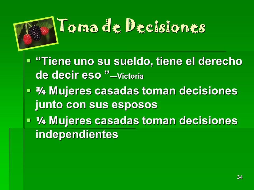 Toma de Decisiones Tiene uno su sueldo, tiene el derecho de decir eso —Victoria. ¾ Mujeres casadas toman decisiones junto con sus esposos.