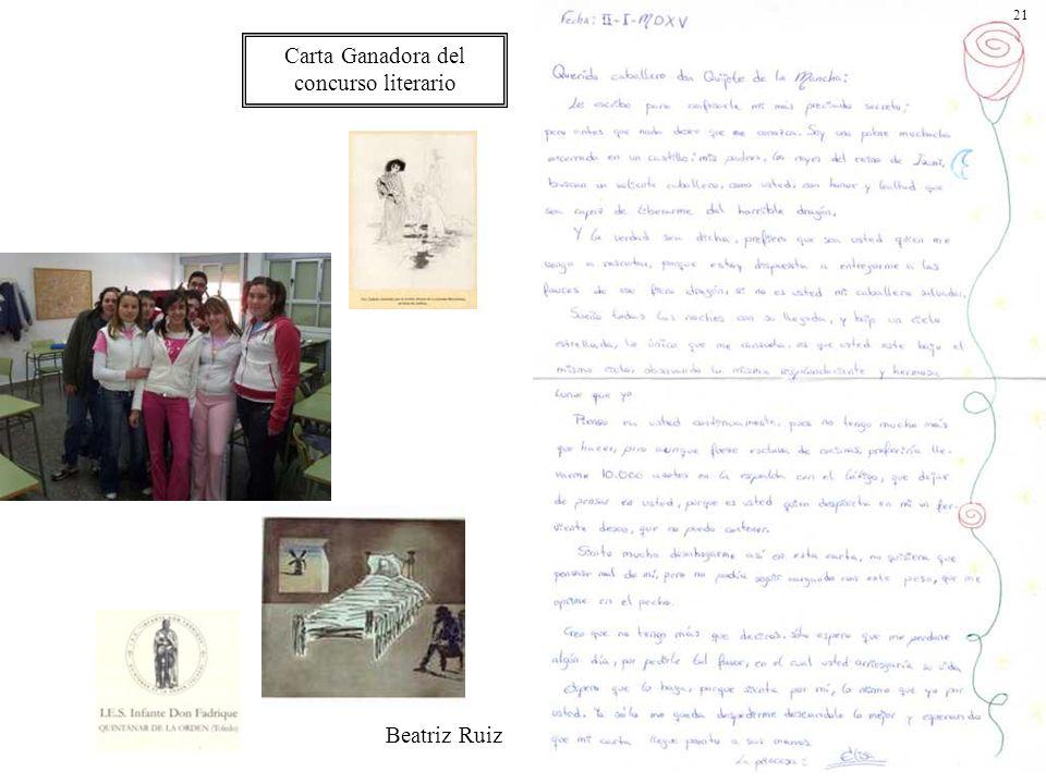 Carta Ganadora del concurso literario