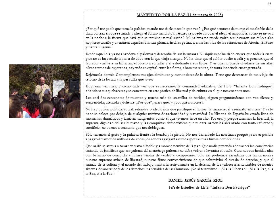MANIFIESTO POR LA PAZ (11 de marzo de 2005)