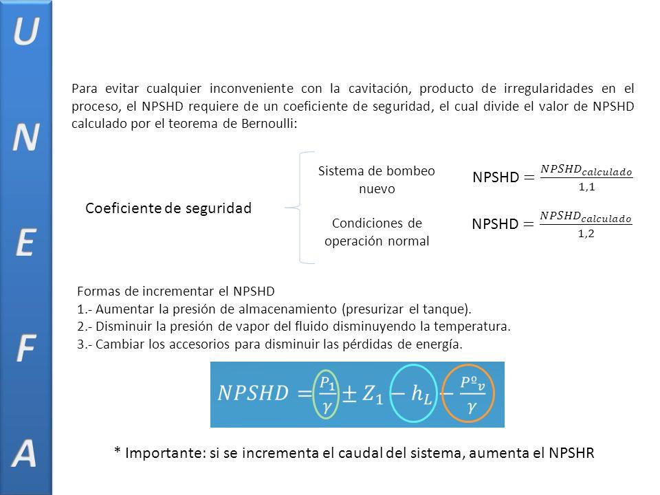 U N E F A NPSHD = 𝑁𝑃𝑆𝐻𝐷 𝑐𝑎𝑙𝑐𝑢𝑙𝑎𝑑𝑜 1,1 Coeficiente de seguridad