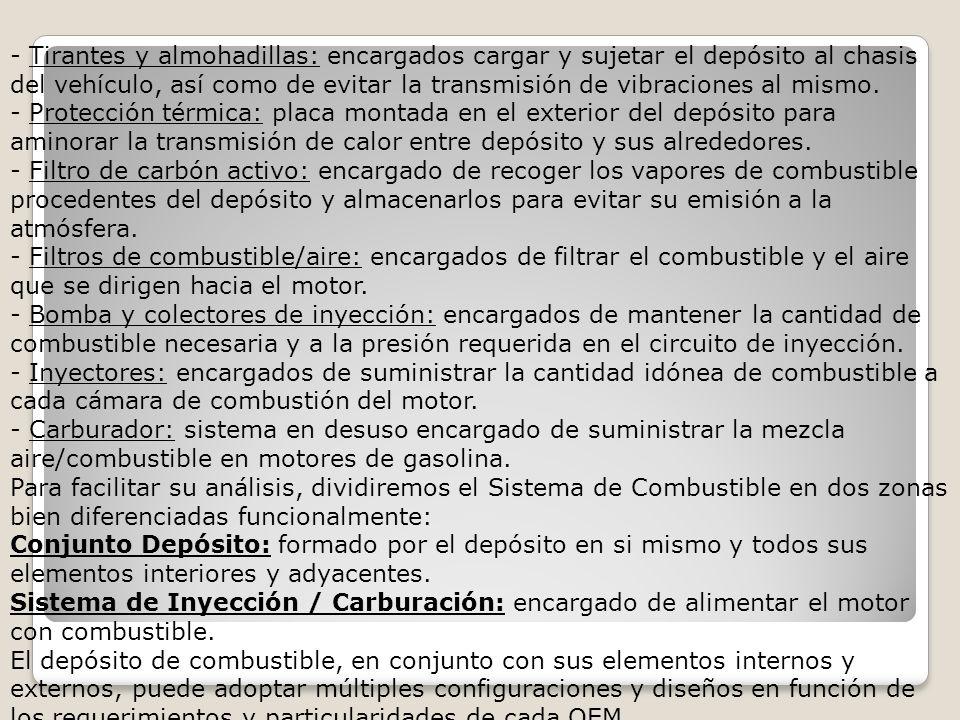 - Tirantes y almohadillas: encargados cargar y sujetar el depósito al chasis del vehículo, así como de evitar la transmisión de vibraciones al mismo.
