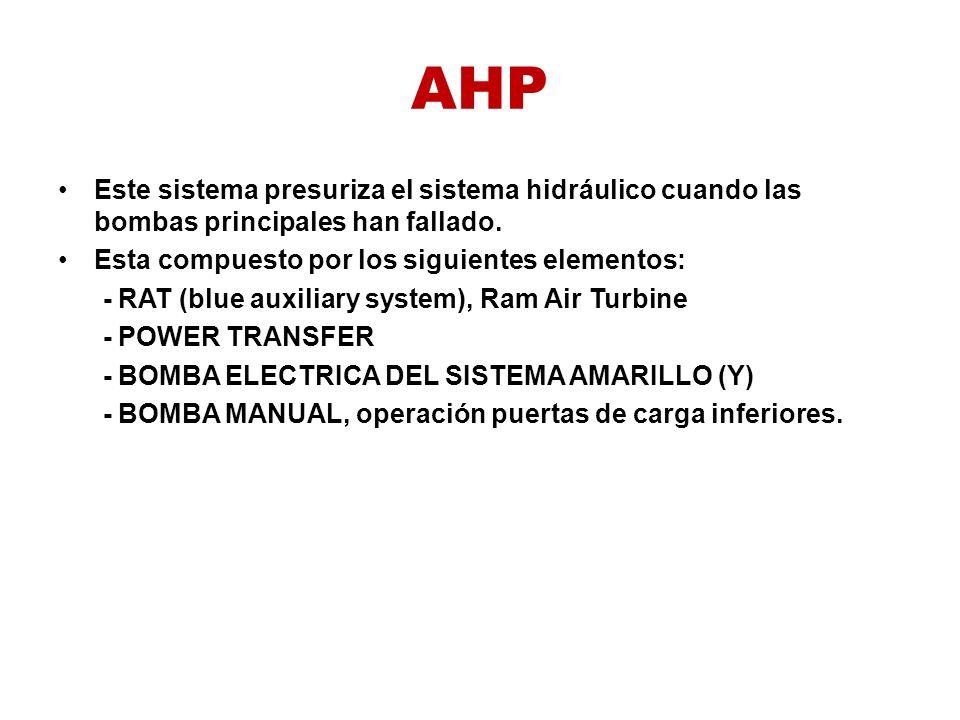 AHP Este sistema presuriza el sistema hidráulico cuando las bombas principales han fallado. Esta compuesto por los siguientes elementos: