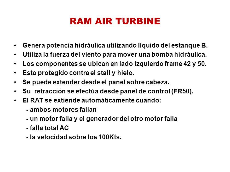 RAM AIR TURBINE Genera potencia hidráulica utilizando líquido del estanque B. Utiliza la fuerza del viento para mover una bomba hidráulica.