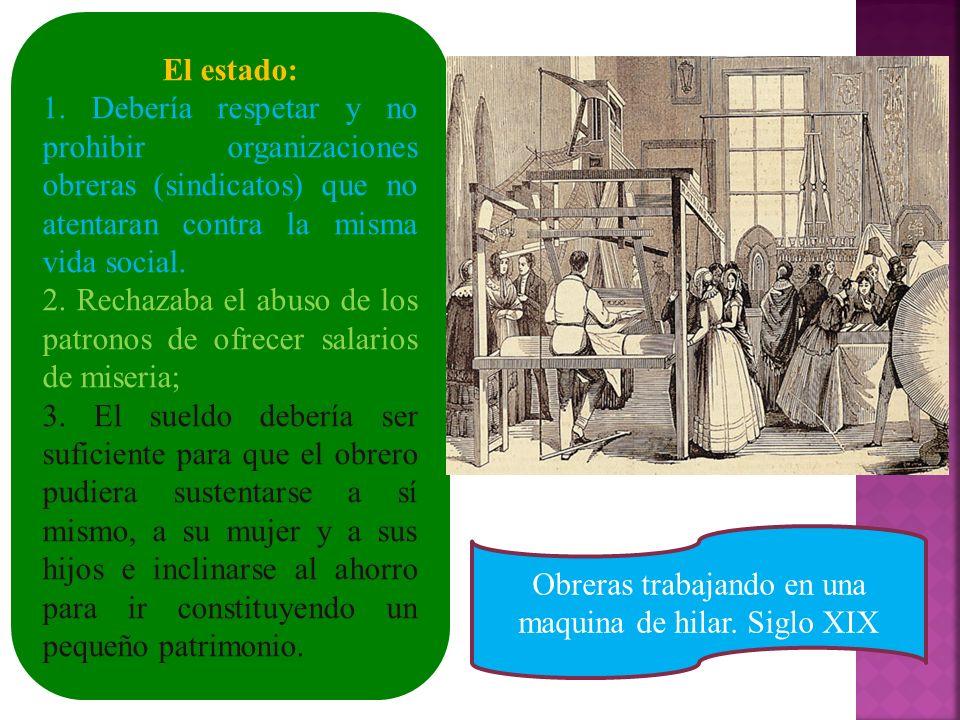 Obreras trabajando en una maquina de hilar. Siglo XIX