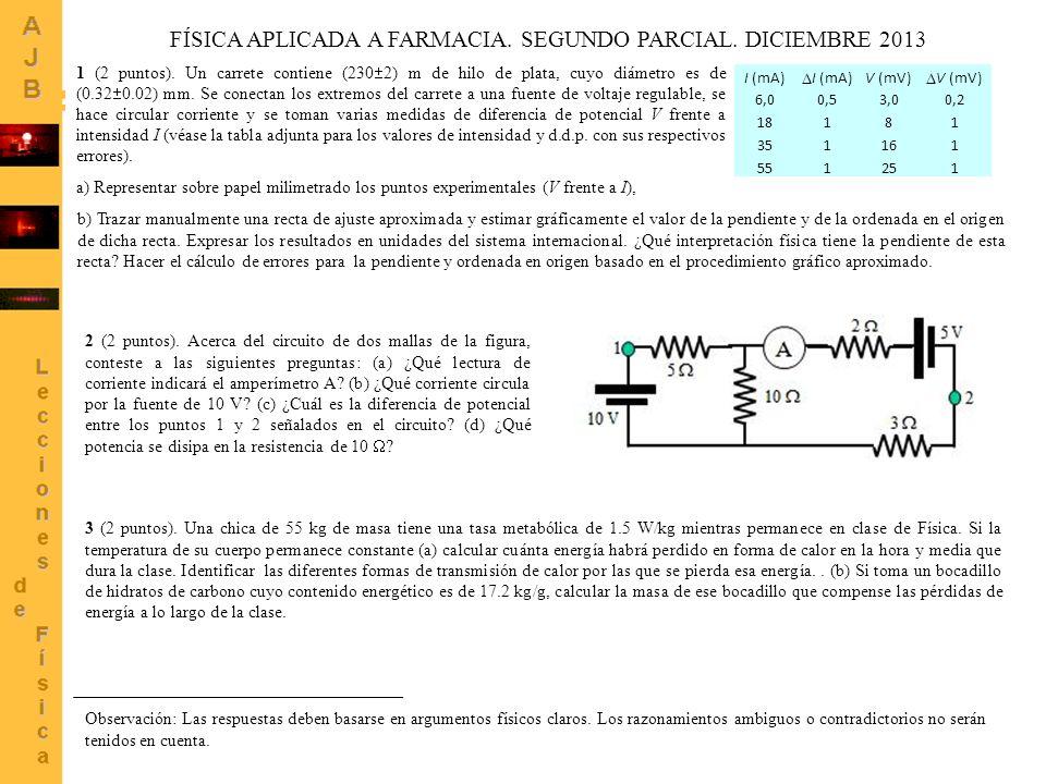 FÍSICA APLICADA A FARMACIA. SEGUNDO PARCIAL. DICIEMBRE 2013