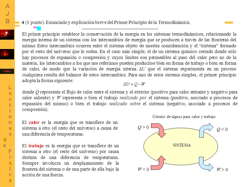 4 (1 punto). Enunciado y explicación breve del Primer Principio de la Termodinámica.