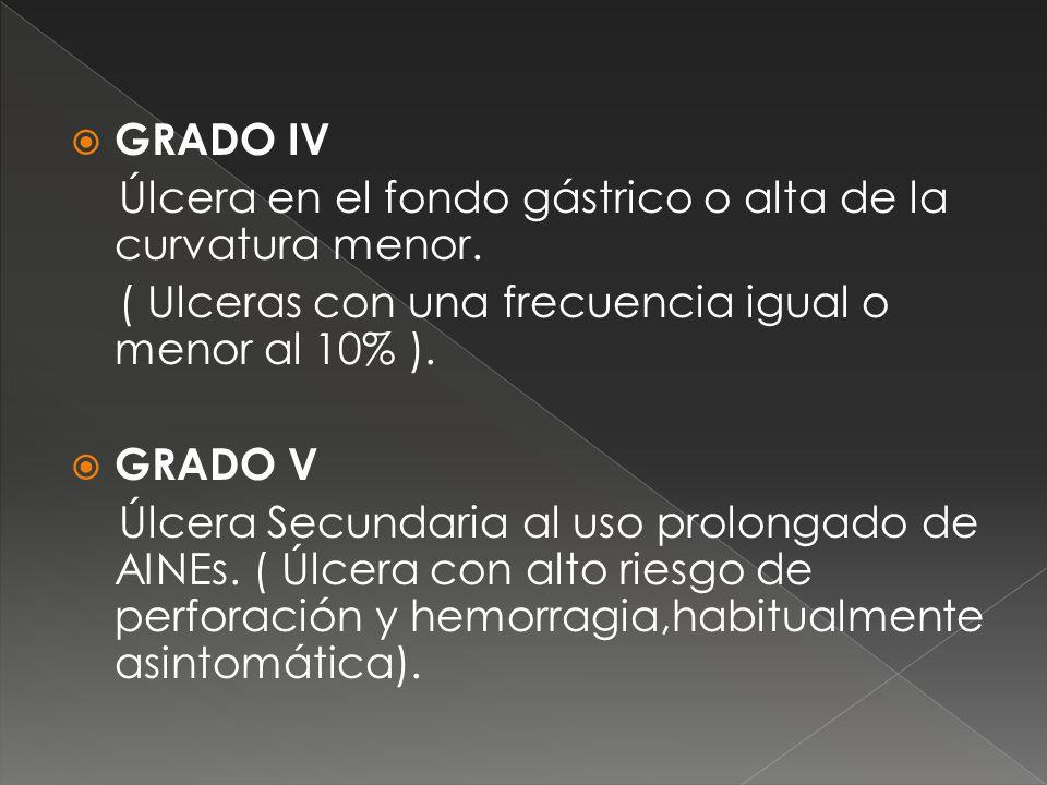 GRADO IV Úlcera en el fondo gástrico o alta de la curvatura menor. ( Ulceras con una frecuencia igual o menor al 10% ).