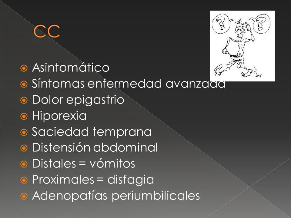 CC Asintomático Síntomas enfermedad avanzada Dolor epigastrio