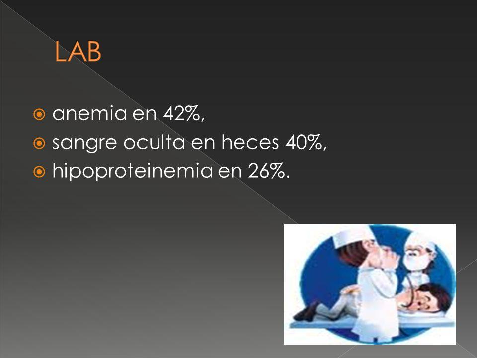 LAB anemia en 42%, sangre oculta en heces 40%, hipoproteinemia en 26%.