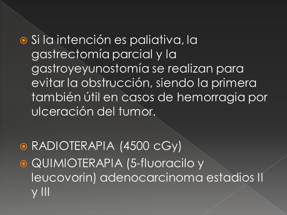 Si la intención es paliativa, la gastrectomía parcial y la gastroyeyunostomía se realizan para evitar la obstrucción, siendo la primera también útil en casos de hemorragia por ulceración del tumor.