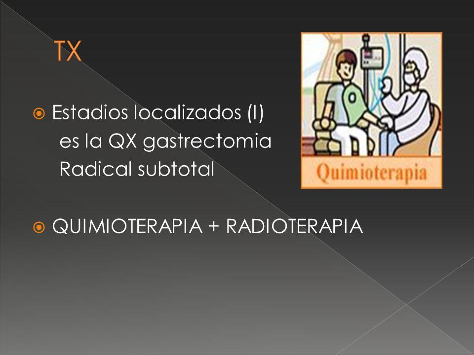 TX Estadios localizados (I) es la QX gastrectomia Radical subtotal