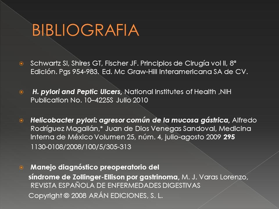 BIBLIOGRAFIA Schwartz SI, Shires GT, Fischer JF. Principios de Cirugía vol II, 8ª Edición. Pgs 954-983. Ed. Mc Graw-Hill Interamericana SA de CV.