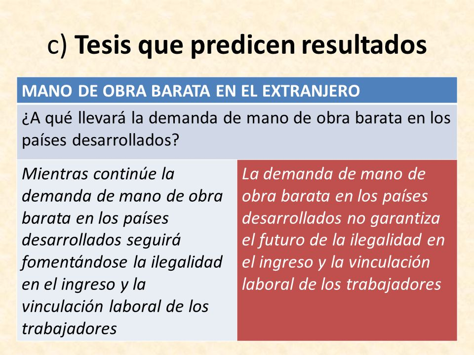 c) Tesis que predicen resultados