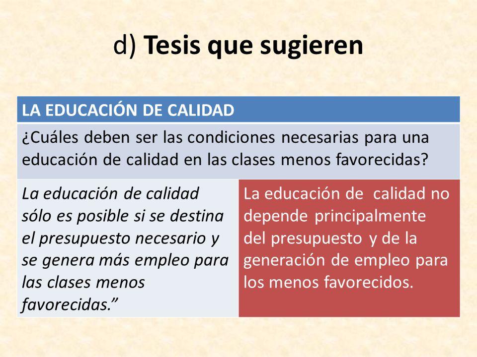 d) Tesis que sugieren LA EDUCACIÓN DE CALIDAD