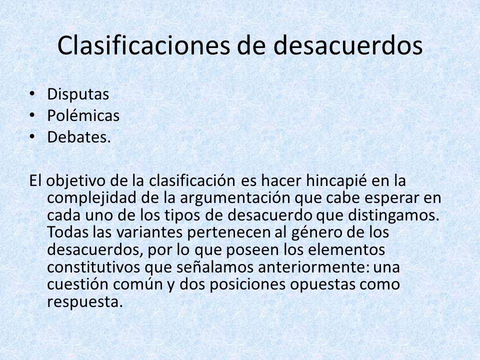 Clasificaciones de desacuerdos