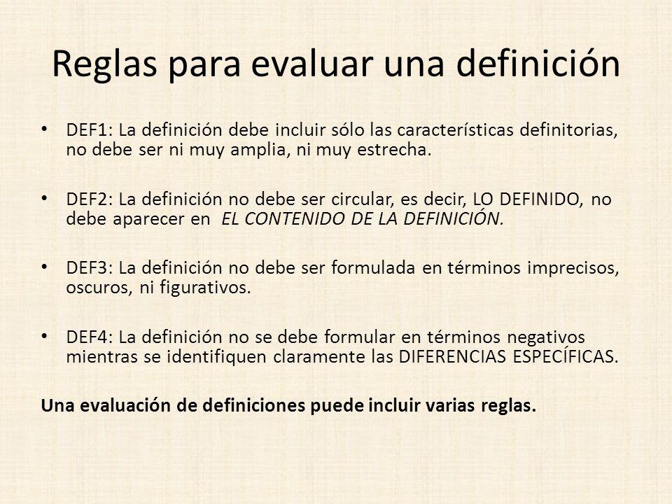 Reglas para evaluar una definición