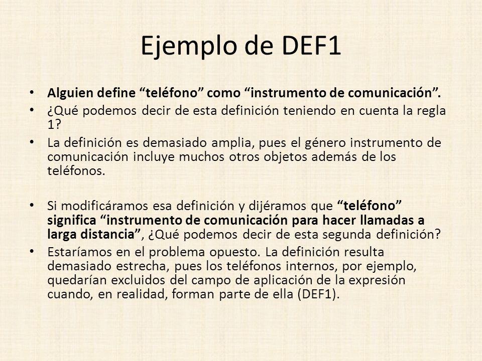 Ejemplo de DEF1 Alguien define teléfono como instrumento de comunicación . ¿Qué podemos decir de esta definición teniendo en cuenta la regla 1