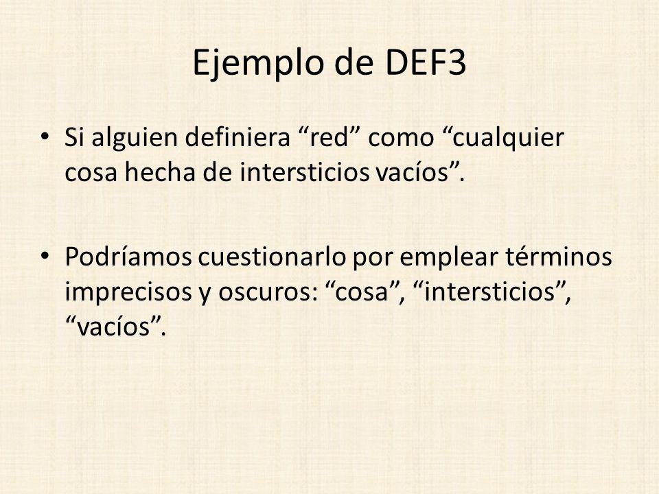 Ejemplo de DEF3 Si alguien definiera red como cualquier cosa hecha de intersticios vacíos .